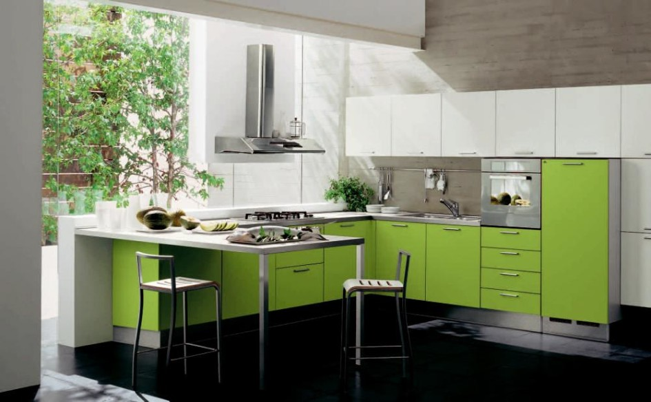 Фото кухни салатного цвета