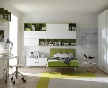 Кровать, стол, навесные полки, шкаф раздвижная система Cinetto.