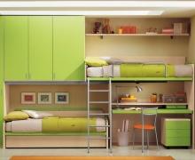 2-х ярусная кровать, выкатной стол, шкафы. ЛДСП Egger