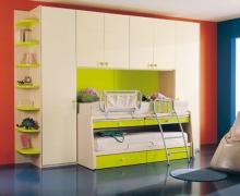 2-х ярусная кровать, комплект шкафов, фасады распашные полотно AGT