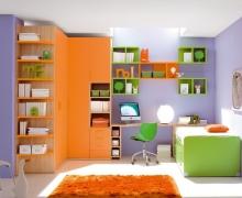 Угловой шкаф, полки, письменный стол, кровать с ящиками. Фасады ЛДСП Egger
