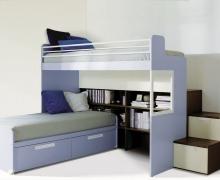 2-х ярусная кровать, лестница с ящиками - ЛДСП Egger