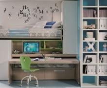 Выкатные кровать, стол, стеллаж - ЛДСП Egger