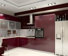 Кухня угловая, фасады AlvicLux бордо