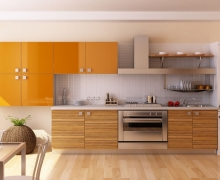Кухня линейная, верх разноуровневый, фасады - МДФ панели AGT глянец