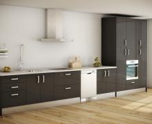 Кухня однорядная, встроенная техника. Фасады панель AGT глянец