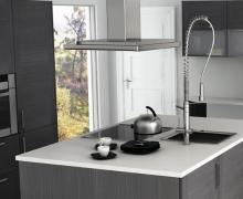 Кухня с островным элементом, фасады рамочные TSS панель