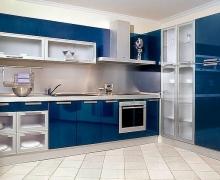 Кухня угловая, буфет - фасады стекло сатин в ал. рамке, панели AlvicLux